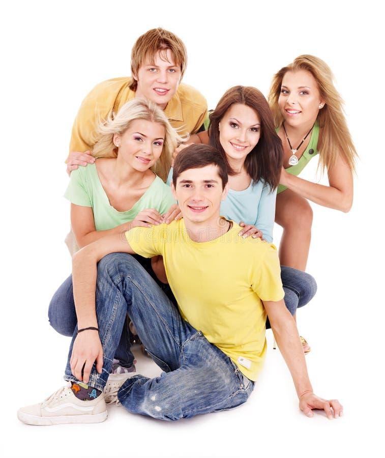 Gruppe junge Leute auf Weiß. lizenzfreie stockbilder