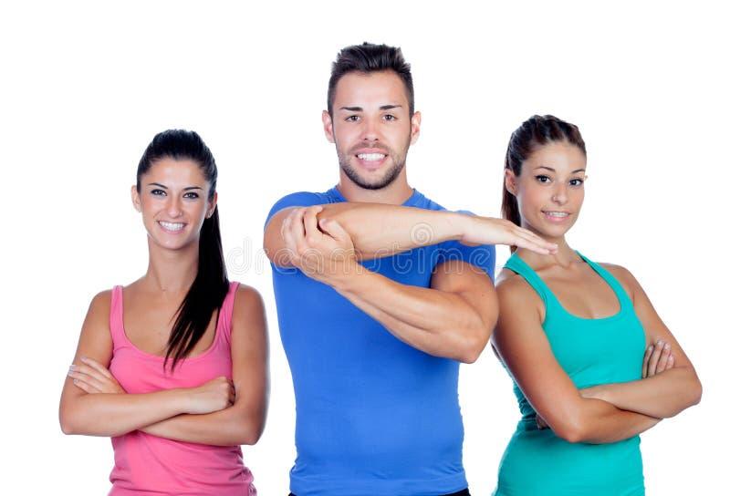 Gruppe junge Leute mit Sportkleidung lizenzfreie stockfotos