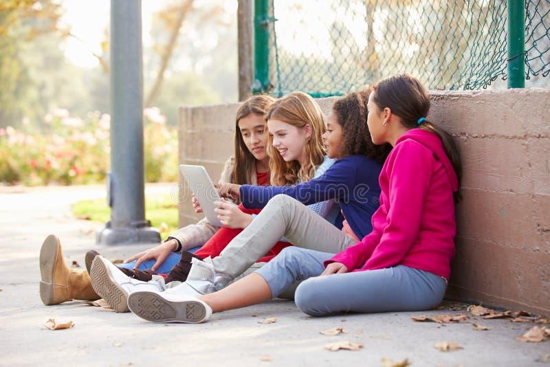 Gruppe junge Mädchen, die Digital-Tablet im Park verwenden stockfotos