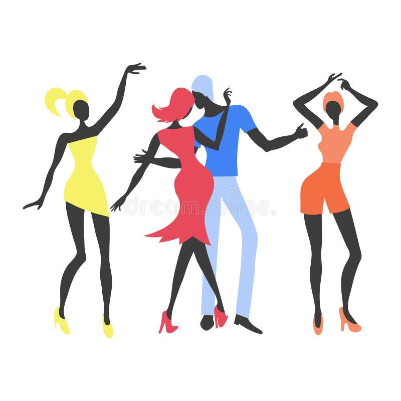 Gruppe junge tanzende Leute Bunte Parteivektorillustration vektor abbildung