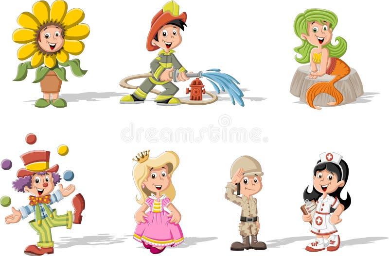 Gruppe Karikaturkinder, die Kostüme tragen lizenzfreie abbildung