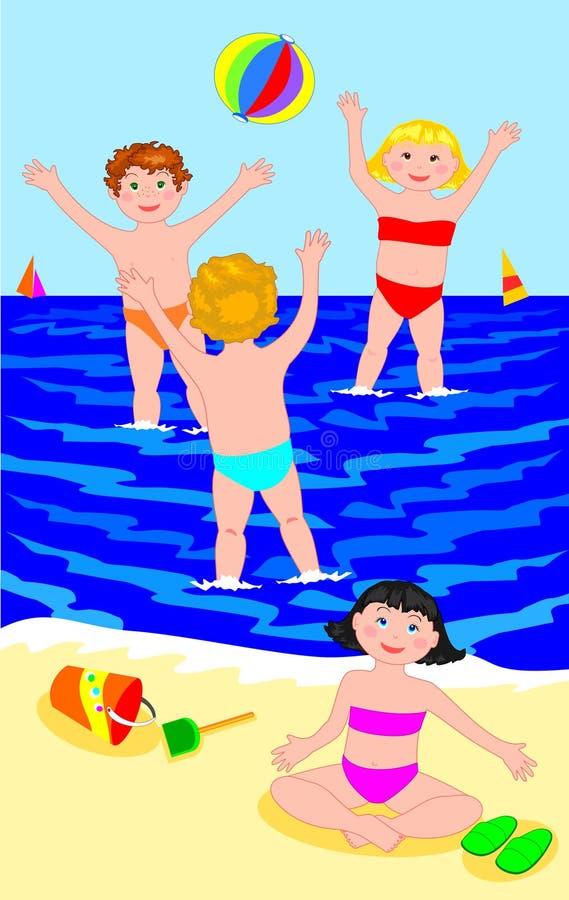 Gruppe Kinder beim Spielen der Kugel im Meer vektor abbildung