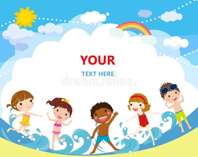 Gruppe Kinder, die auf Strand springen lizenzfreie abbildung