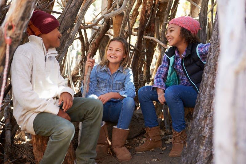 Gruppe Kinder, die in Forest Camp Together spielen lizenzfreies stockfoto