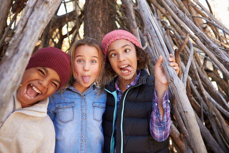 Gruppe Kinder, die in Forest Camp Together spielen lizenzfreie stockbilder