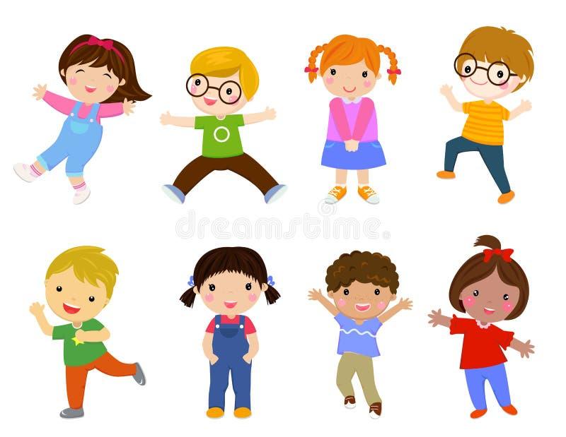 Gruppe Kinder, die Hand halten lizenzfreie abbildung