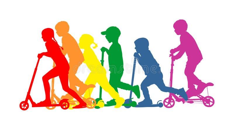 Gruppe Kinder, die Rollervektorschattenbild reiten Kinder auf dem Trittbrett, das zusammen genießt Aktiver Spaß und Unterhaltung  lizenzfreie abbildung
