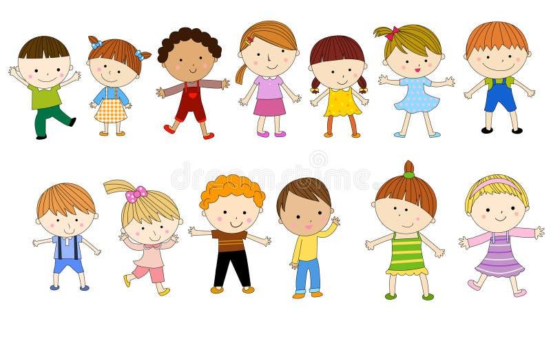 Gruppe Kinder mit unbelegtem Zeichen oder Fahne lizenzfreie abbildung