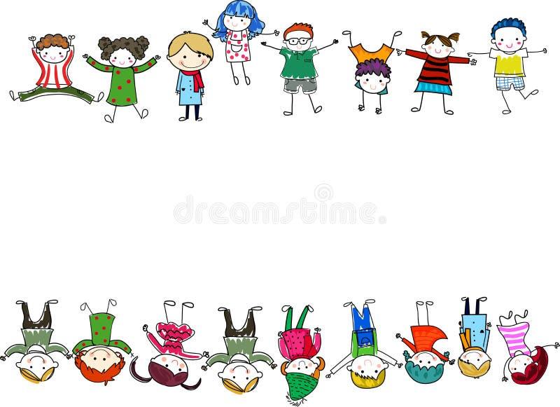 Gruppe Kinder mit unbelegtem Zeichen oder Fahne vektor abbildung