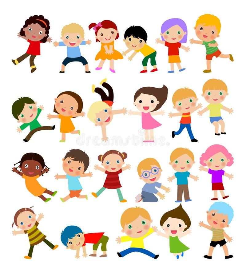 Gruppe Kinder mit unbelegtem Zeichen oder Fahne stock abbildung