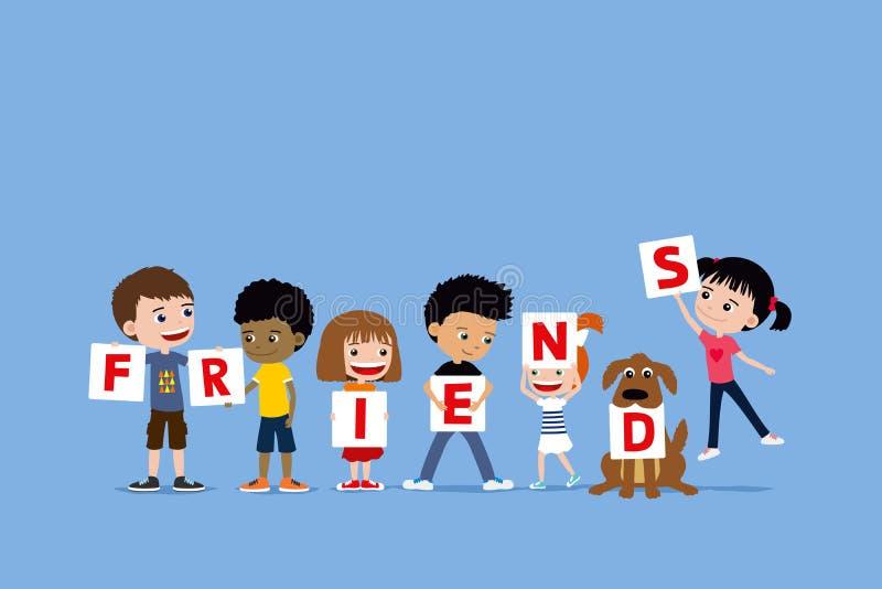 Gruppe Kinder und ein Hund, der Buchstaben Freunde sagend hält Nette verschiedene Karikaturillustration von kleinen Mädchen und v lizenzfreie abbildung