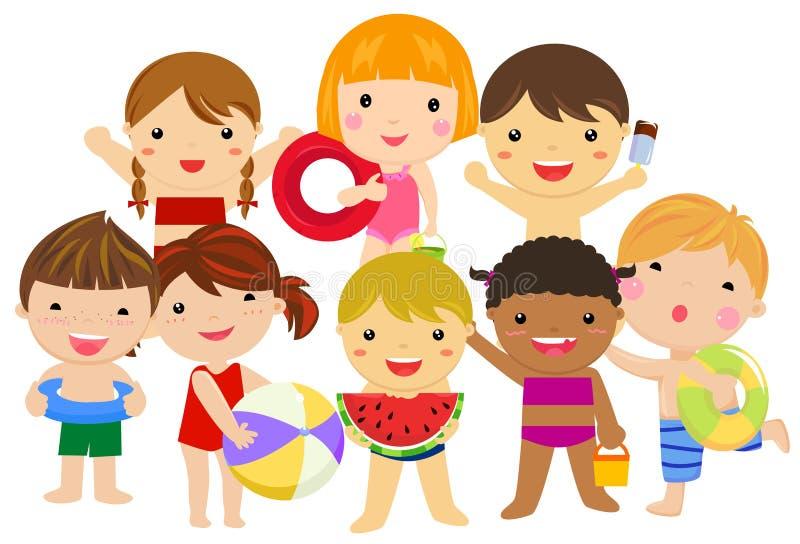 Gruppe Kindersommerkollektion stock abbildung