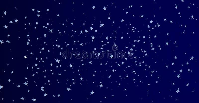 Gruppe kleine helle weiße fünf-spitze Sterne, die auf einen dunkelblauen Hintergrund schwimmen stock abbildung