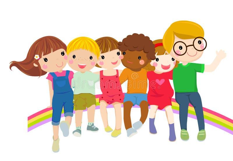 Gruppe kleine Kinder des Glückes, die zusammen sitzen stock abbildung