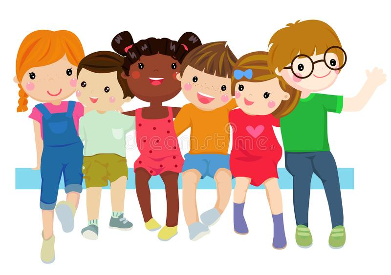 Gruppe kleine Kinder des Glückes, die zusammen sitzen lizenzfreie abbildung