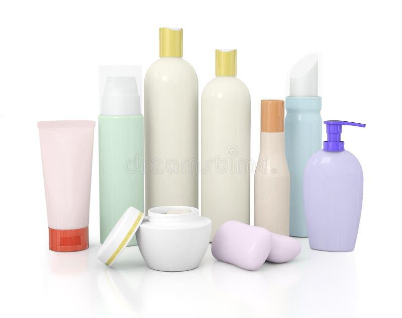 Gruppe kosmetische Flaschen stock abbildung