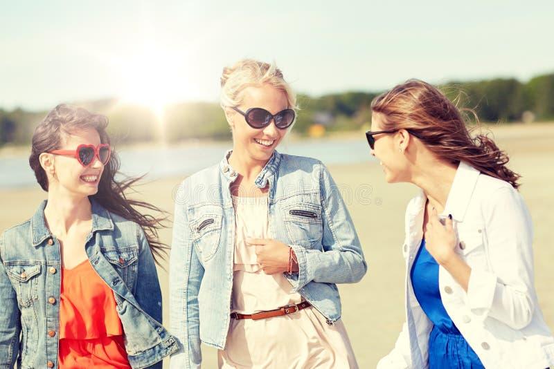Gruppe lächelnde junge Freundinnen auf Strand stockbild