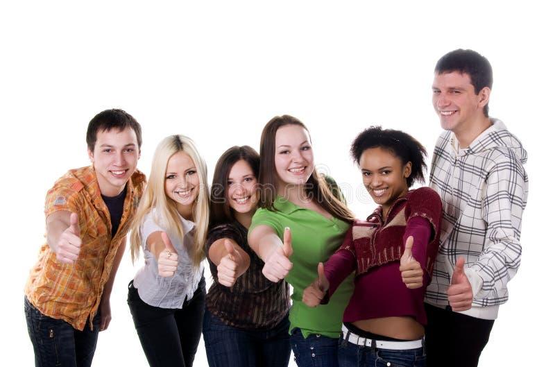 Gruppe lächelnde Kursteilnehmer stockbilder