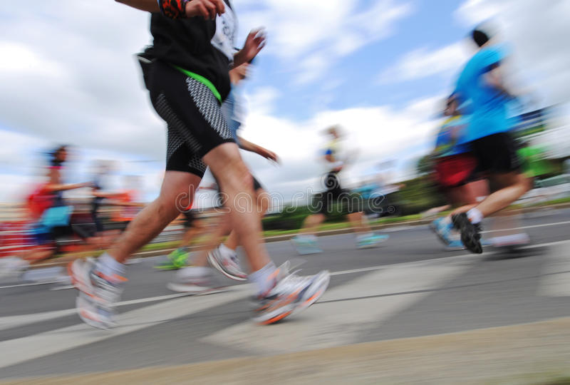 Gruppe Läufer, emotionales unscharfes Bild stockfoto