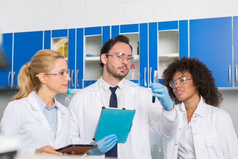 Gruppe Laborwissenschaftler, die grüne Flüssigkeit im Reagenzglas unter Verwendung der Tablet-Computer, Mischungs-Rennen Team Of  stockfotos