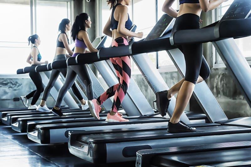 Gruppe Leute der jungen Frauen, die auf Tretmühlen in der modernen Sportturnhalle laufen stockbild