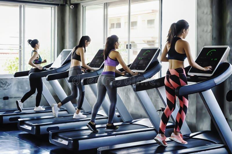 Gruppe Leute der jungen Frauen, die auf Tretmühlen in der modernen Sportturnhalle laufen stockfotografie