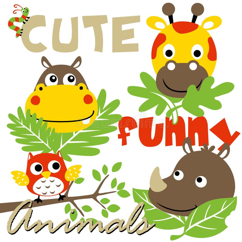 Gruppe lustige Tiere, Vektorkarikaturillustration stock abbildung