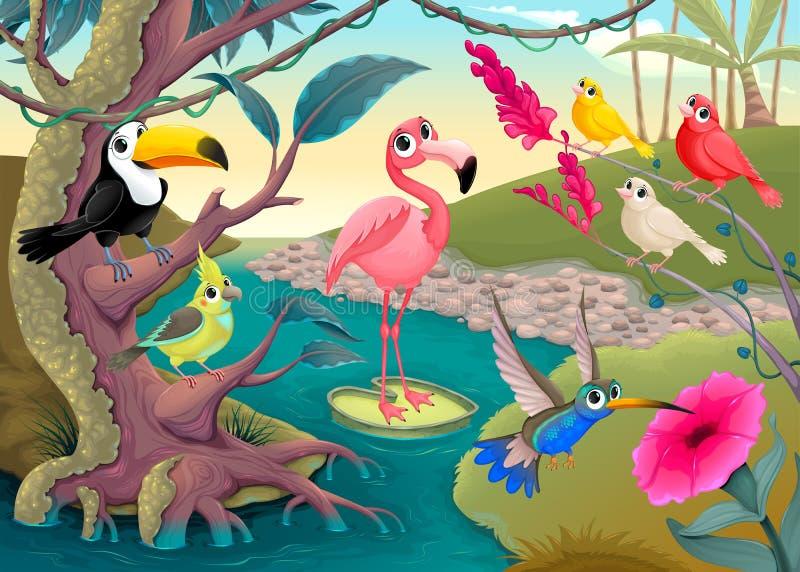Gruppe lustige tropische Vögel im Dschungel stock abbildung