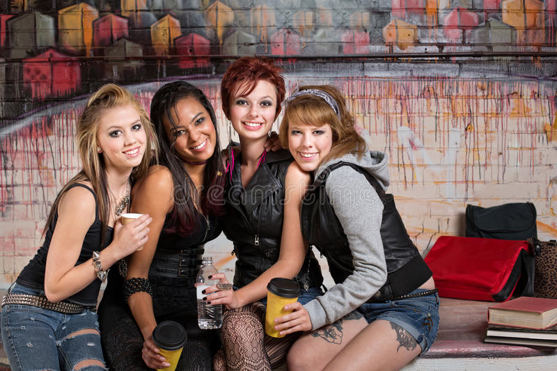 Gruppe Mädchen Togther lizenzfreie stockbilder