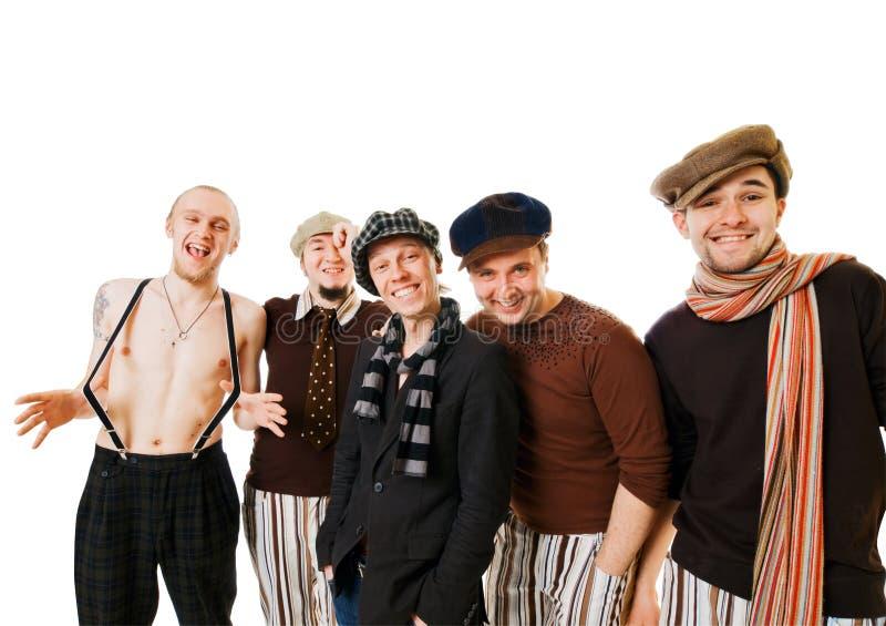 Gruppe männliche Freunde auf Weiß stockbild