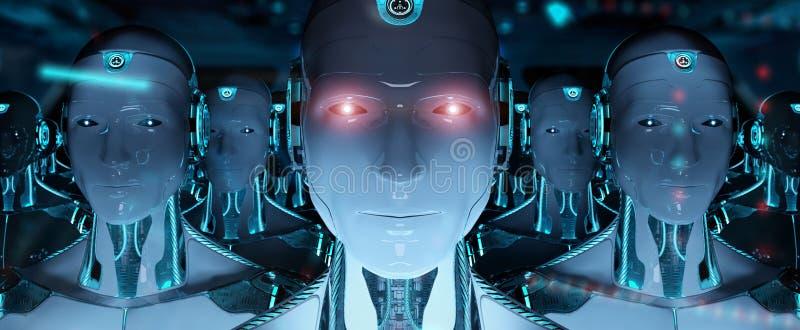 Gruppe männliche Roboter, die Wiedergabe der Führer Cyborgarmee 3d folgen lizenzfreie abbildung