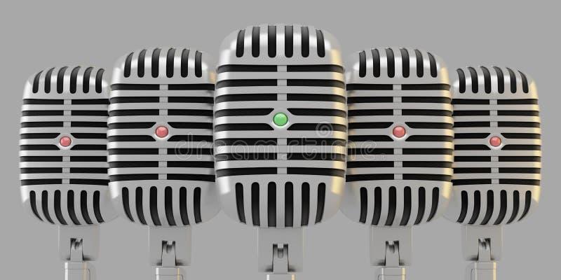 Gruppe Mikrophone stock abbildung