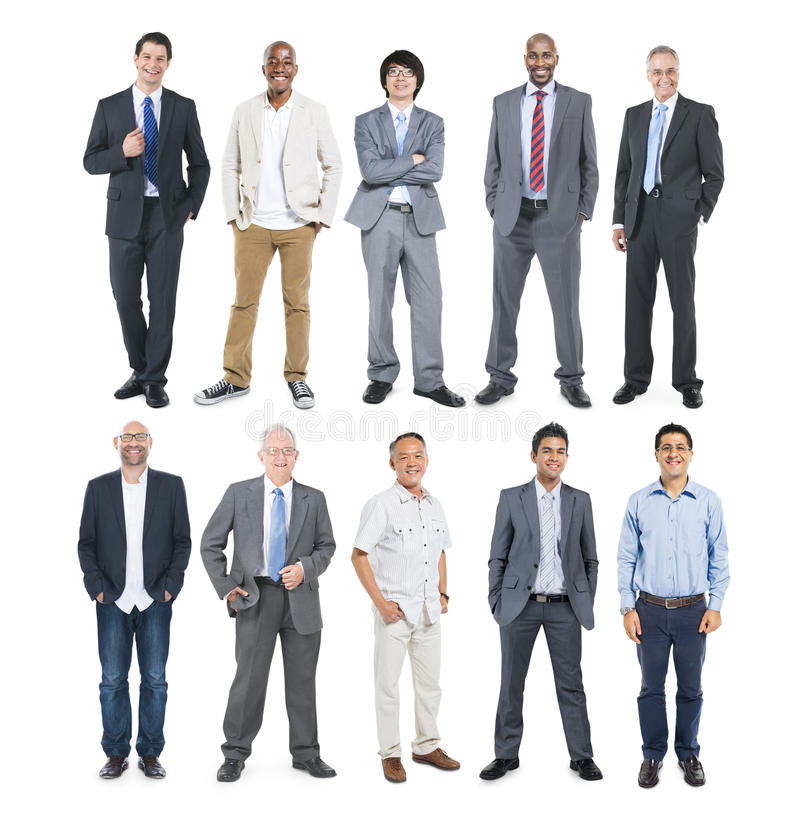 Gruppe multiethnische verschiedene nette Geschäftsmänner lizenzfreies stockfoto