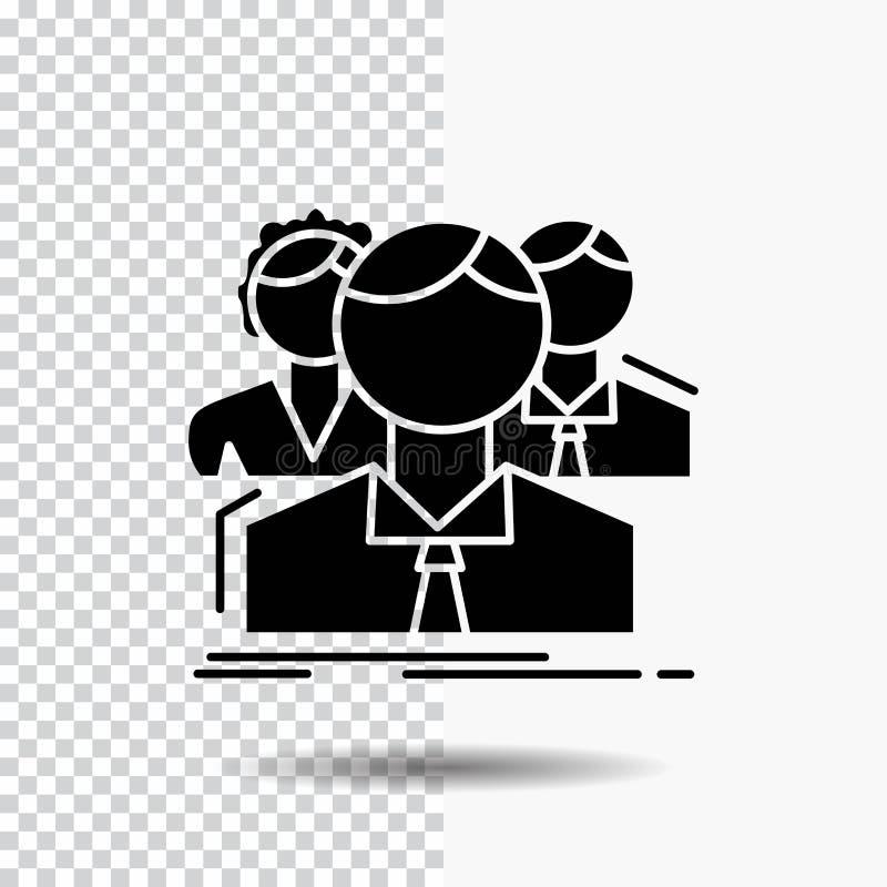 Gruppe, Multispieler, Leute, Team, on-line-Glyph-Ikone auf transparentem Hintergrund Schwarze Ikone lizenzfreie abbildung