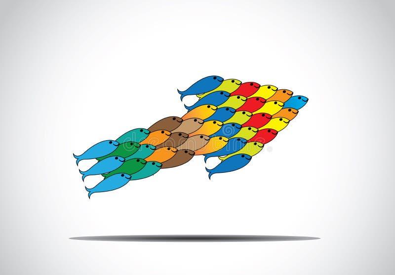 Gruppe muticolored Fische, die in eine Pfeilform-Konzeptkunst hochschieben stock abbildung