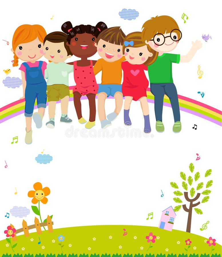 Gruppe nette Kinder, die zusammen sitzen stock abbildung