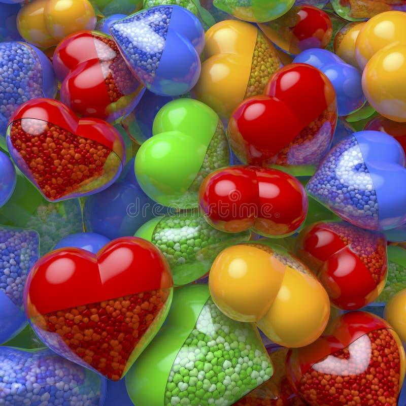 Gruppe, Pool des bunten, roten, blauen, grünen, gelben Herzens formte Pillen, die Kapseln, die mit kleinen kleinen Herzen als Med stockbilder