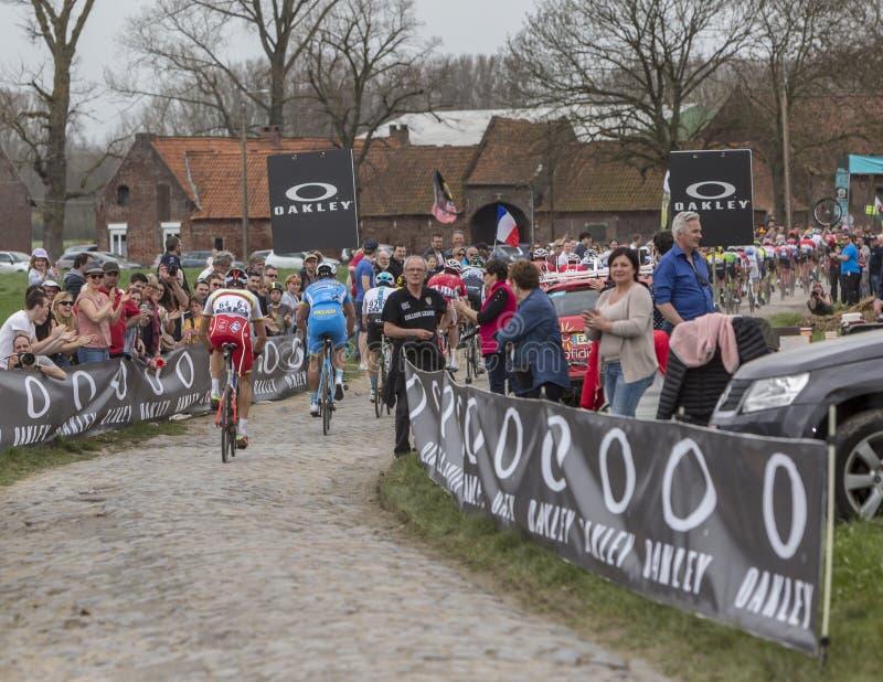 Gruppe Radfahrer - Paris-Roubaix 2018 lizenzfreie stockfotografie