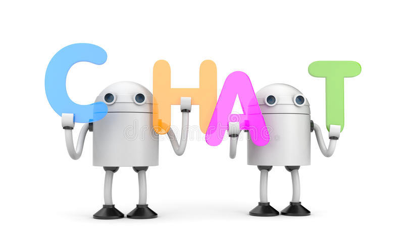 Gruppe Roboter mit Wort CHAT stock abbildung