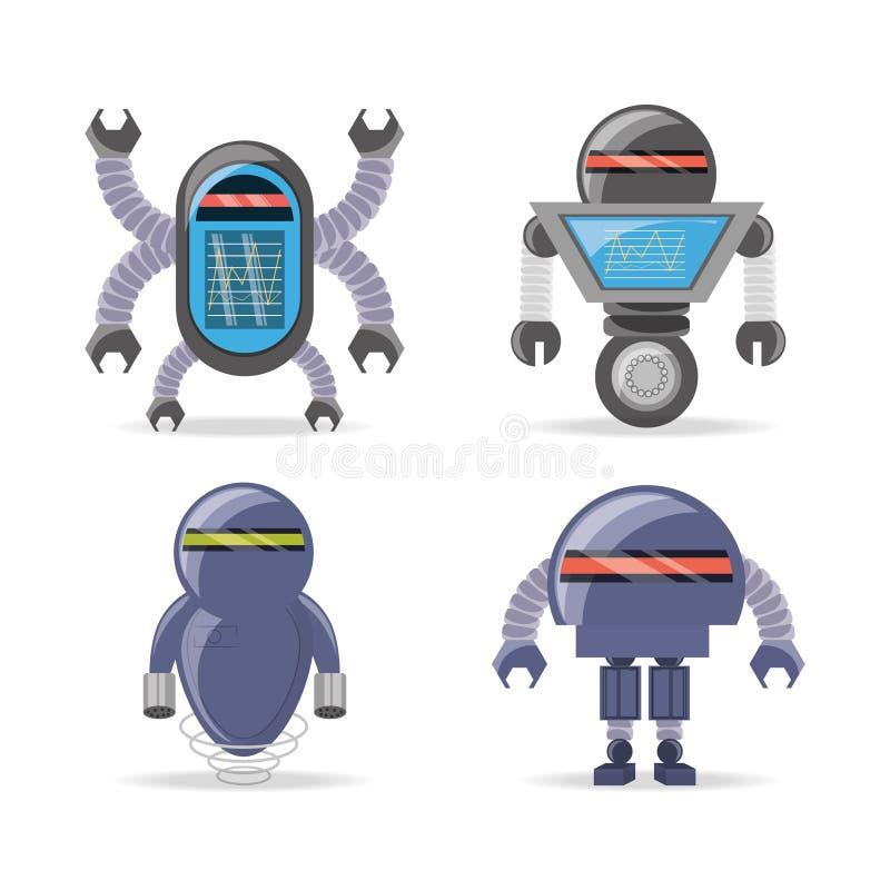 Gruppe Roboterkarikaturdesign lizenzfreie abbildung