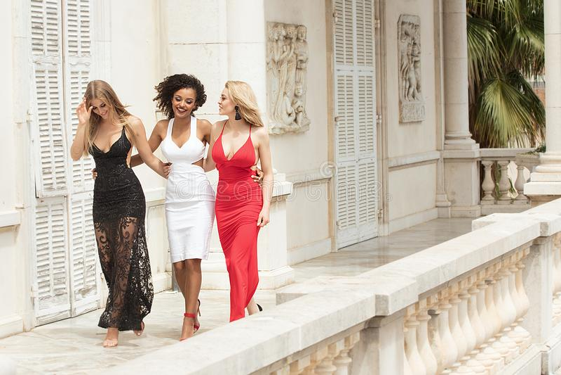 Gruppe schöne sexy Damen in den eleganten Kleidern am sonnigen summe lizenzfreie stockfotos