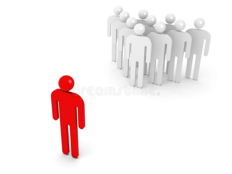 Gruppe schematische Leute und ein gegenüberliegendes Rot vektor abbildung