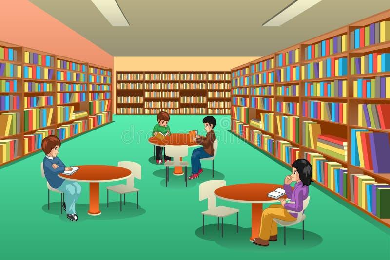 Gruppe Schulkinder, die in der Bibliotheks-Illustration studieren lizenzfreie abbildung
