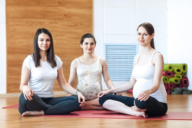 Gruppe schwangere Frauen teilgenommen an Yoga stockfotografie