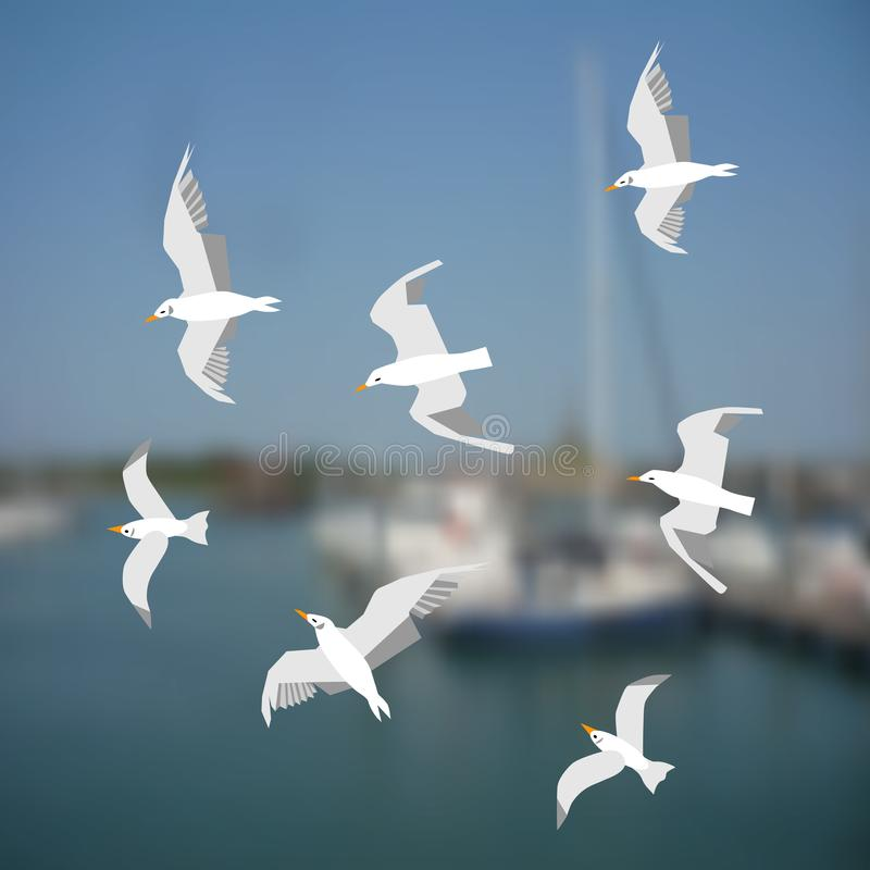 Gruppe Seemöwen, die auf den Seehintergrund fliegen lizenzfreie abbildung