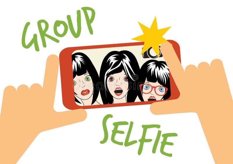 Gruppe selfie Illustration vektor abbildung