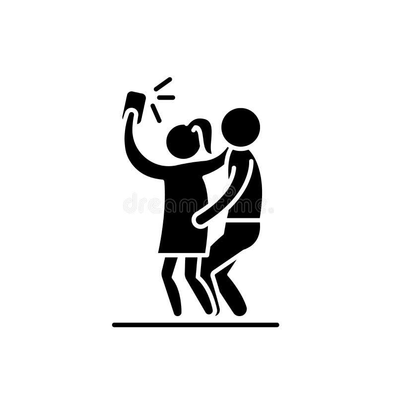 Gruppe selfie Schwarzikone, Vektorzeichen auf lokalisiertem Hintergrund Gruppe selfie Konzeptsymbol, Illustration lizenzfreie abbildung