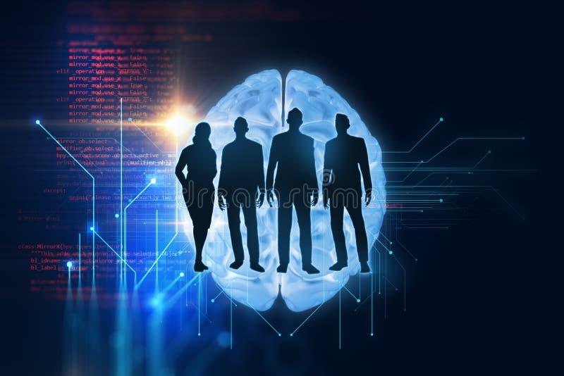 Gruppe silouette Geschäftsleute auf Technologiehintergrund vektor abbildung