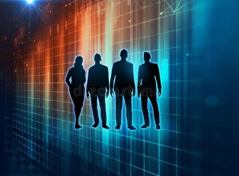 Gruppe silouette Geschäftsleute auf Technologiehintergrund stock abbildung