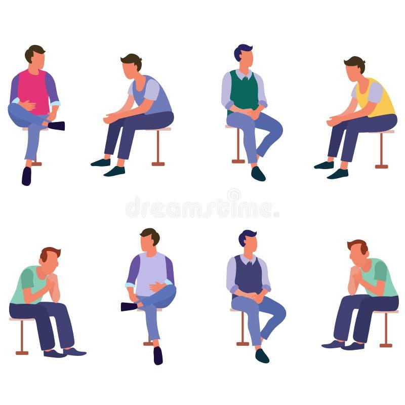 Gruppe sitzende Leute, die mit flachen Ikonen des Freunds sprechen vektor abbildung